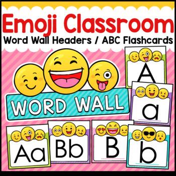 Emoji Theme Classroom Decor Word Wall ABC Flashcards