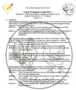 Emoji Writing in Google Docs Writing / Technology Lesson Plan Grades 3-12