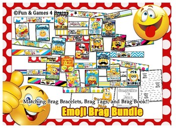Emoji themed Brag Bundle!!! Brag Bracelets, Brag Tags, and Brag Booklet!