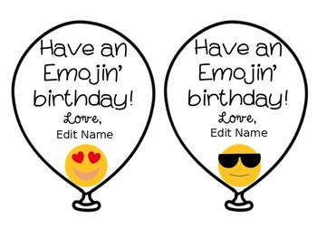 {Editable} Emoji Birthday Balloons