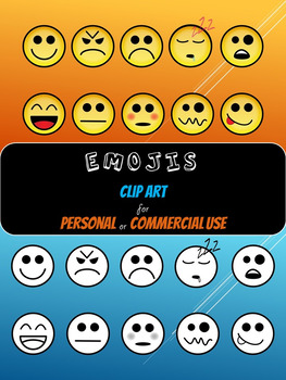 Emojis Clip Art for Personal or Commercial Use - Color & Line Art!