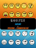 Emojis Clip Art for Personal or Commercial Use - Color & L