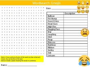 Emojis Wordsearch Puzzle Sheet Keywords Feelings Text Messaging