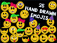 Emojis and Hashtags Clip Art Set Hand Drawn