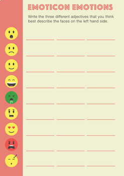 Emoticon Adjectives Work Sheet