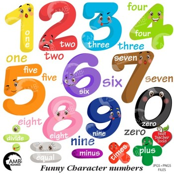 Emoticon Numbers Clipart, Bright Numbers Clipart {Best Tea