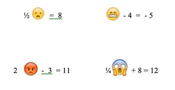 Emoji :) Variables Algebra Worksheet :P  :O  :*)