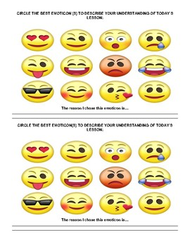 Emoticons/ emoji formative assessment exit ticket/slips students love!