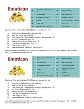 Emoticons: Keyboarding practice for symbols