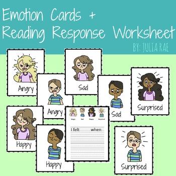Emotion Cards + Reading Response Worksheet