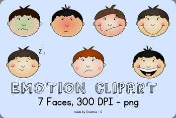 Emotion Clip Art -  Boy Face Clipart - personal and commer