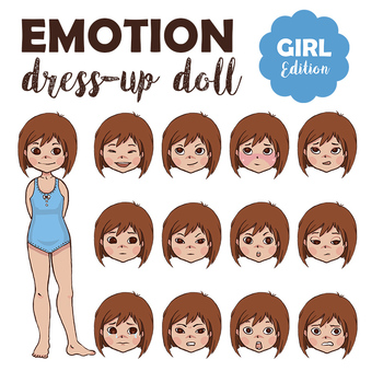 graphic regarding Printable Paper Doll Body referred to as Feeling Costume-Up Paper Doll Woman for Training Pertaining to Entire body Language Thoughts
