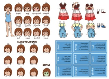 Emotion Dress-Up Paper Doll Girl for Teaching About Body Language & Feelings