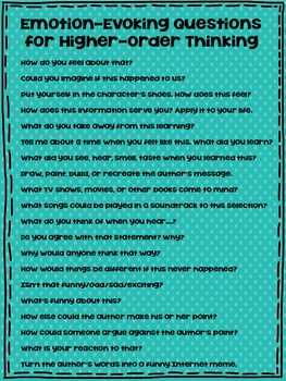 Emotion Evoking Questions to Ask During Reading FREEBIE