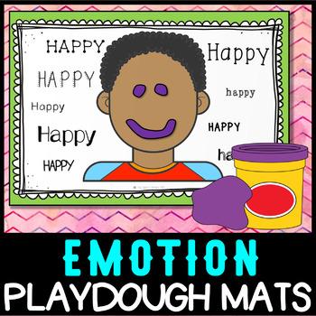 Emotion Feelings Play Dough Mats - self regulation, activity centre NO PREP