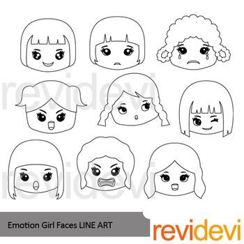 Emotion Girl Faces Line Art - clipart blackline