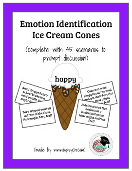 Emotion Identification Ice Cream Cones Game for School Psychologists/Counselor/