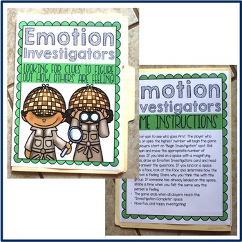 Emotion Investigators Folder Game for Elementary School Counseling