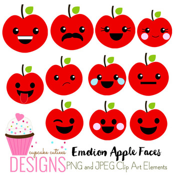 Emotion Kawaii Apple Faces Icons  Digital Graphics CU