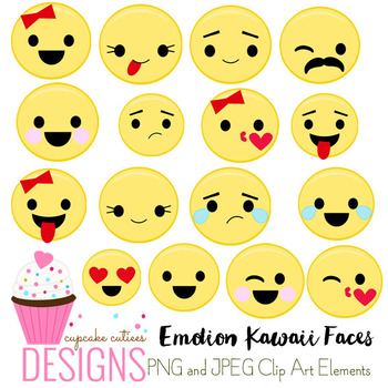 Emotion Kawaii Faces Icons  Digital Graphics CU