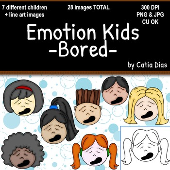 Emotion Kids - Bored - Facial Expressions Clipart