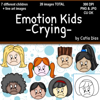 Emotion Kids - CRYING - Facial Expressions Clipart