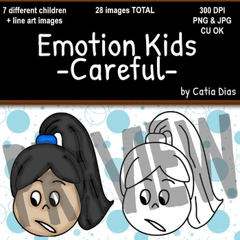 Emotion Kids - Careful - Facial Expressions Clipart