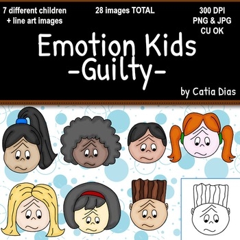 Emotion Kids - Guilty - Facial Expressions Clipart