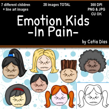Emotion Kids - IN PAIN - Facial Expressions Clipart