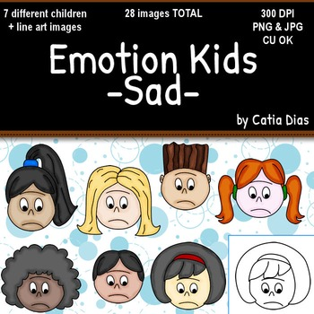 Emotion Kids - SAD - Facial Expressions Clipart