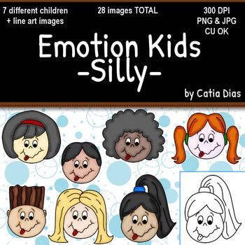 Emotion Kids - SILLY - Facial Expressions Clipart