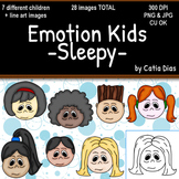 Emotion Kids - SLEEPY - Facial Expressions Clipart