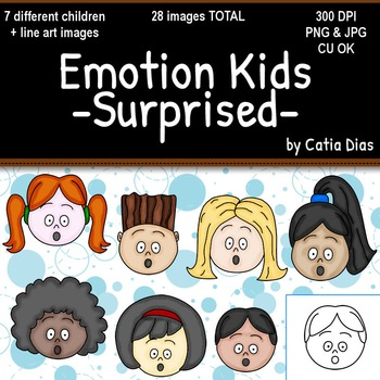 Emotion Kids - SURPRISED - Facial Expressions Clipart