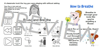 Emotion Management Worksheet and Breathing Poster; pause, rewind, play