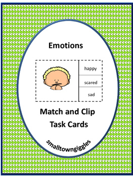 Autism Special Needs Emotion Match and Clip Task Cards Pre