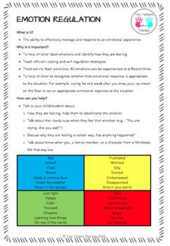 Self Regulation - Parent/Teacher Handout