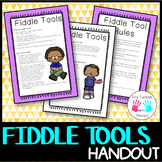 Fiddle Tool Sensory Strategies + Parent/Teacher Handout