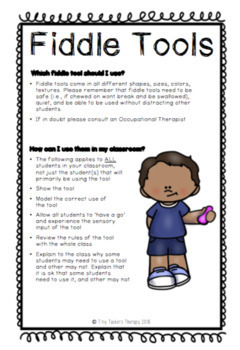 Fiddle Tool Sensory Strategies + Parent/Teacher Handout