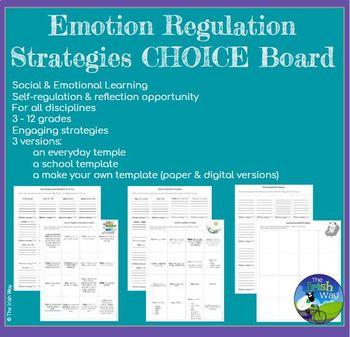 Emotion Regulation Strategies - 2 Student Choice Boards + Editable Student Board