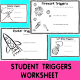 Self Regulation Tools: Triggers Student Worksheet x 5 for feelings/emotions