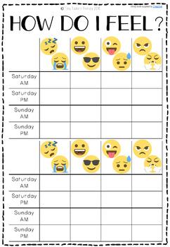 Self Regulation Tools: Emoji Check In Feelings/Emotions