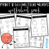 Emotion Word Worksheet Pack - NO PREP, PRINT & GO!