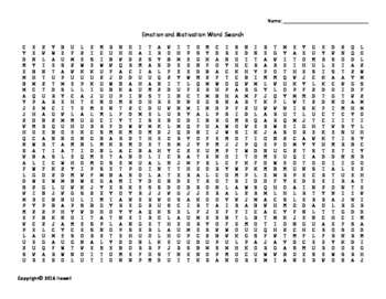 Emotion and Motivation Vocabulary Word Search for Psychology