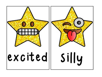 Emotion posters and flash cards with star emojis (Vipkid)