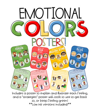 Emotional Colors Posters - Emotional & Self Regulation - Calm Down Strategies