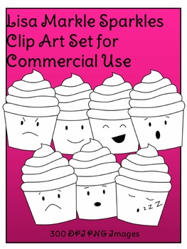 Emotions Cupcake Clip Art Set for Commercial Use