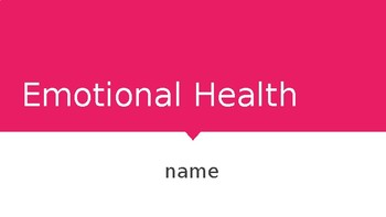 Emotional Health Powerpoint