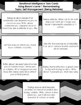Emotional Intelligence Task Cards Using Bloom's Level 1, Topic: Self Management