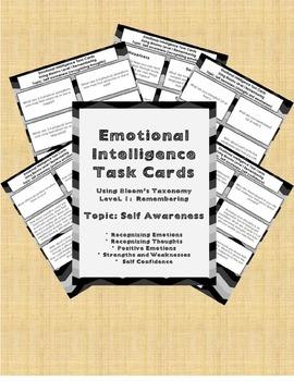 Emotional Intelligence Task Cards (Using Blooms Taxonomy Level 1) Bundle