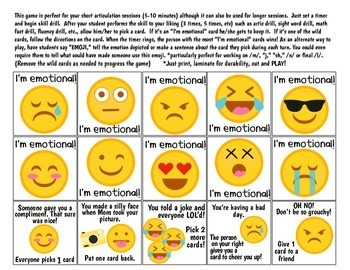 Emotional Quick Drill {for articulation, fluency, RtI or any skill drill}